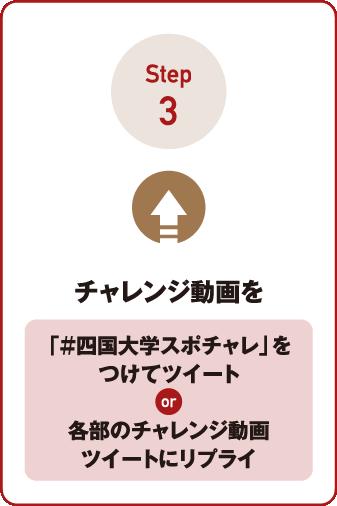 Step3 チャレンジ動画を「#四国大学スポチャレ」をつけてツイート or 各部のチャレンジ動画ツイートにリプライ